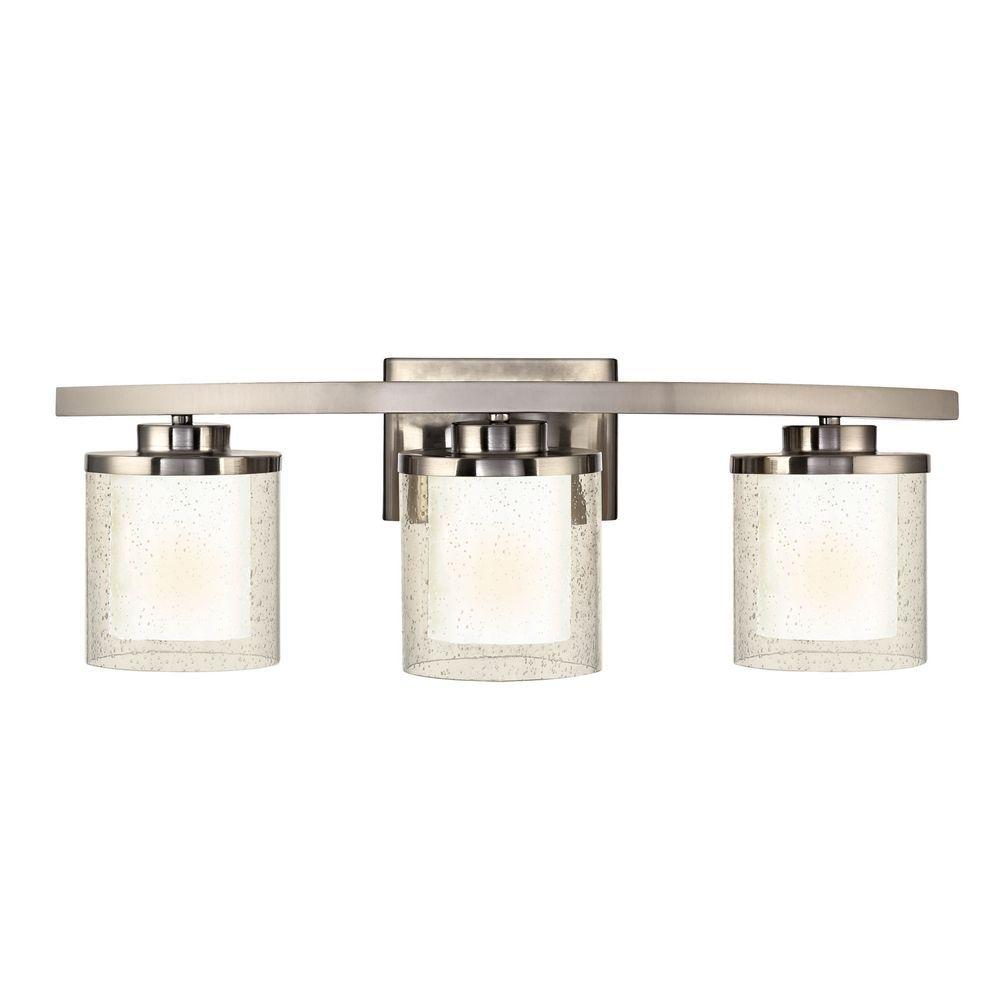 Seeded Gl Bathroom Light Satin Nickel Dolan Designs