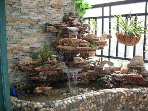 Cascadas De Piedra Volcanica Garden Fountains Fish Pond Gardens Water Fountains Outdoor