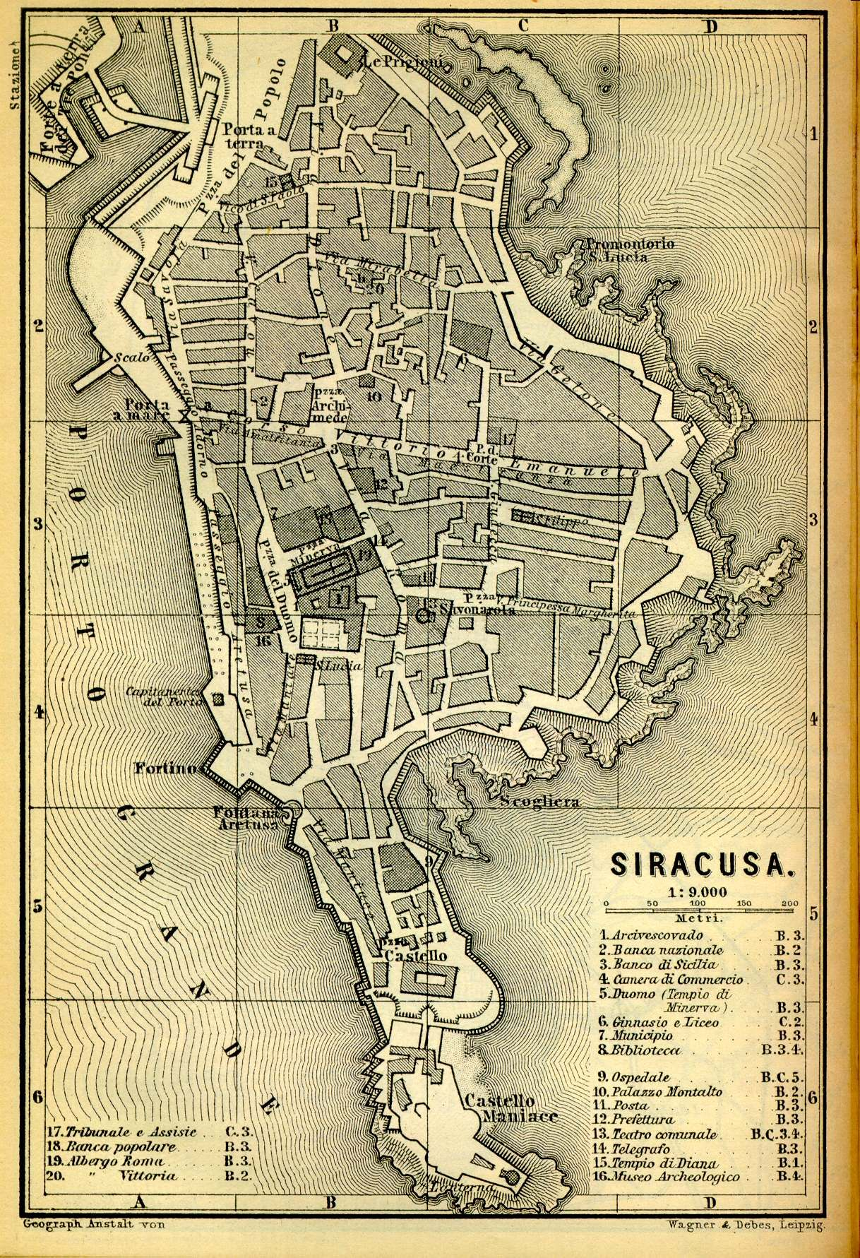 A Map Of Archimedes Birthplace And Home Syracuse The Legend Of