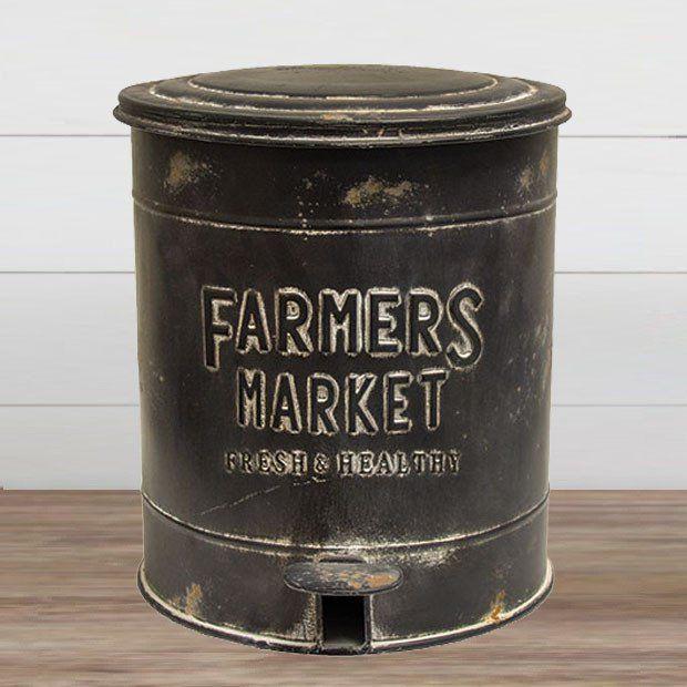 Embossed Metal Farmers Market Trash Can Favorites at Antique Farm