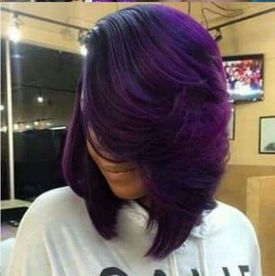 Wig purple highlights
