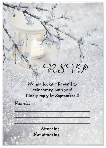 96d71a59eef  Sparkling  Snow  Winter  Wedding  RSVP Card - RSVP card featuring a winter  scene with a lantern in sparkling white snow with a snow covered tree  branch.