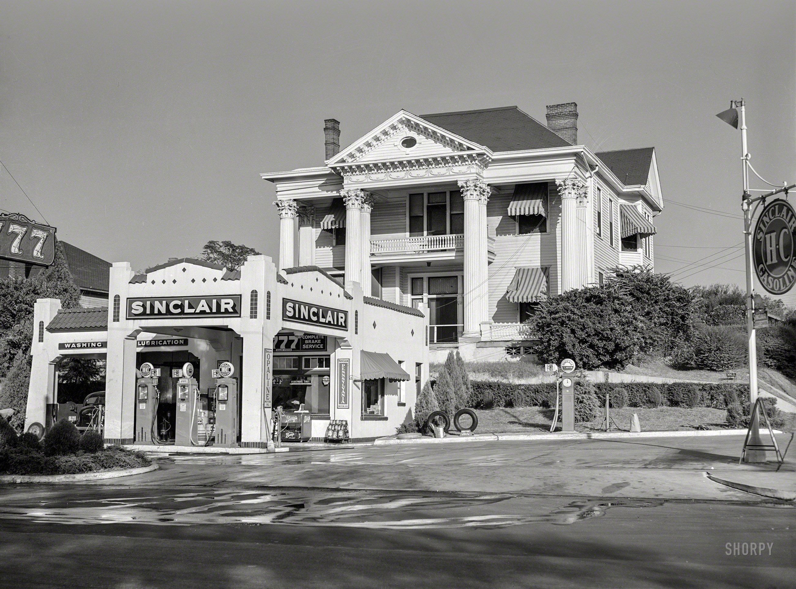 November 1939 Gas Station In Front Of Old Colonial House 306