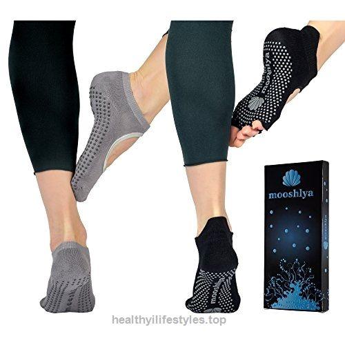 Mooshlya Yoga Barre Socks Non Slip Toeless Bamboo And Pilates