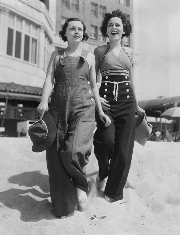 Day at the beach, 1930's - the outfit on the right is too cute!!!!!