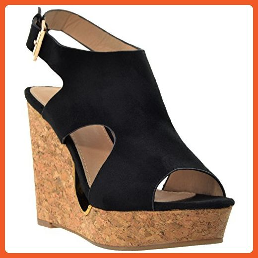 5b351ca7caf Womens Platform High Heels Sandals Slingback Peep Toe Cutout Cork Wedge  Shoes Black SZ 5 - Sandals for women ( Amazon Partner-Link)