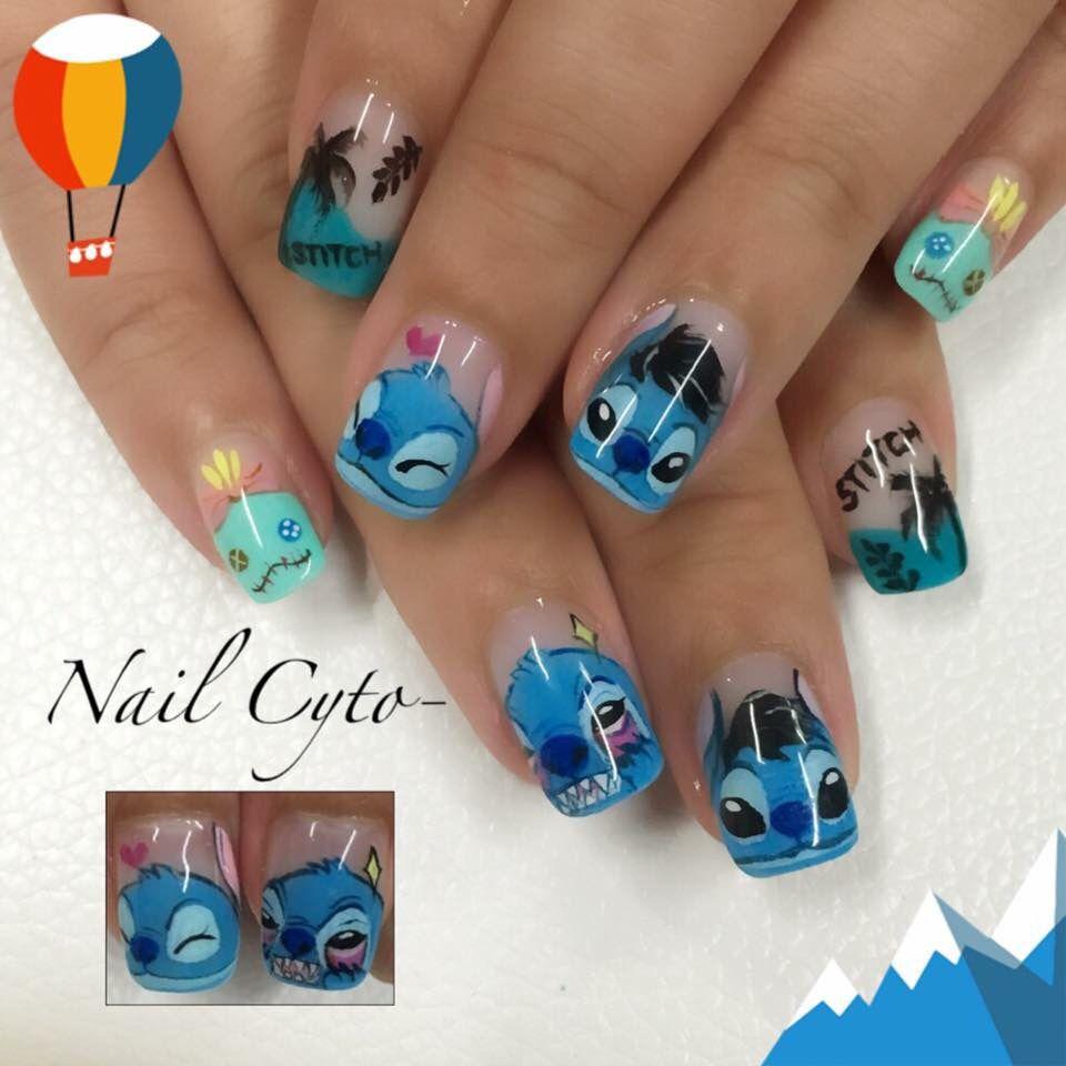 Nail Art Stitch: Disney Acrylic Nails, Cute Nails