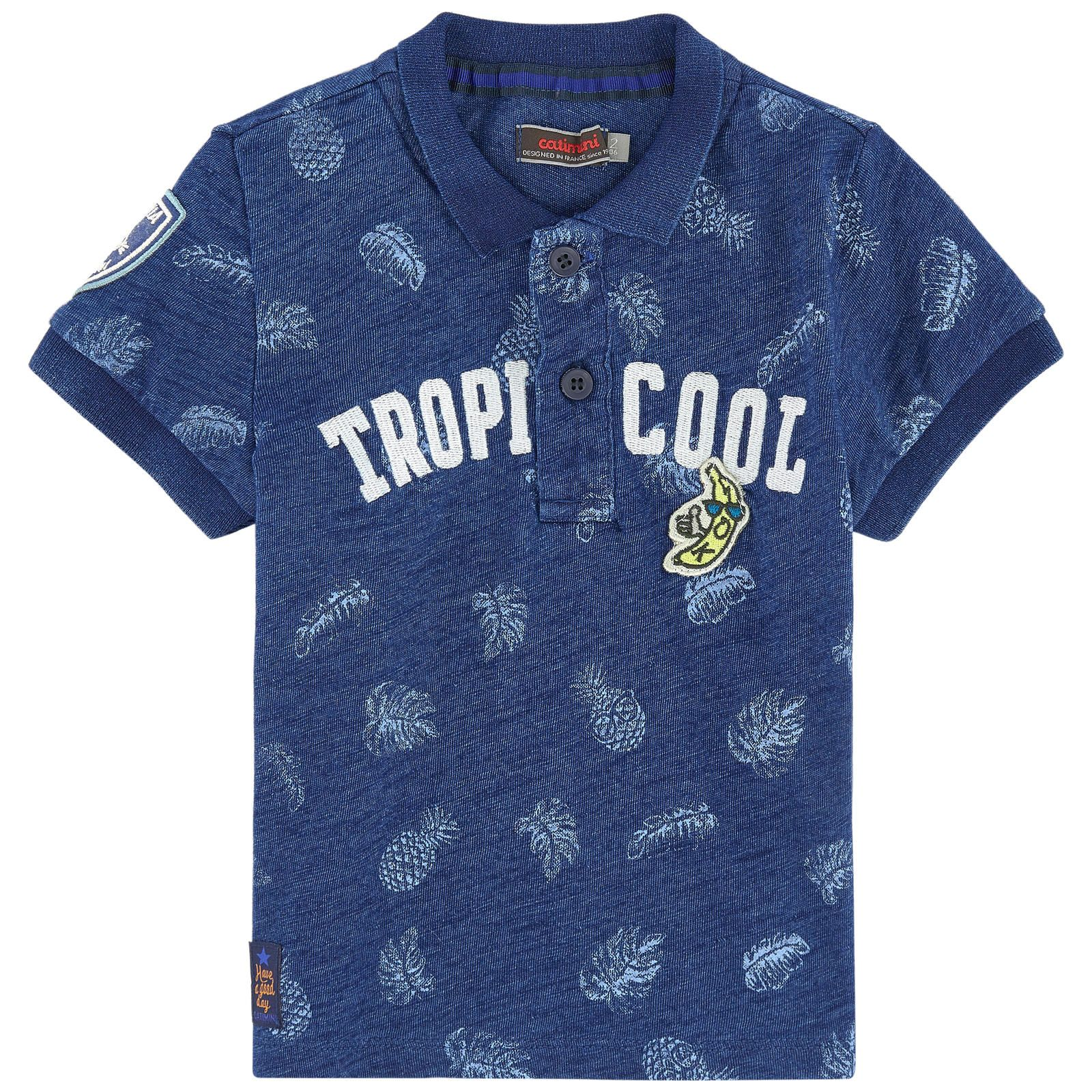 Cotton jersey  Pleasant to the touch Straight fit Polo collar Short sleeves Stretch ribbed knit trims Button strap on the chest Fancy print Embroidered brand Fancy patch - $ 76