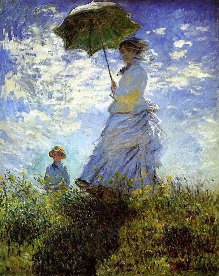 Monet Woman With White Umbrella Impressionism Pinterest