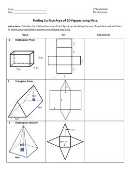 surface area of solids using nets 7 9d surface area students and math. Black Bedroom Furniture Sets. Home Design Ideas
