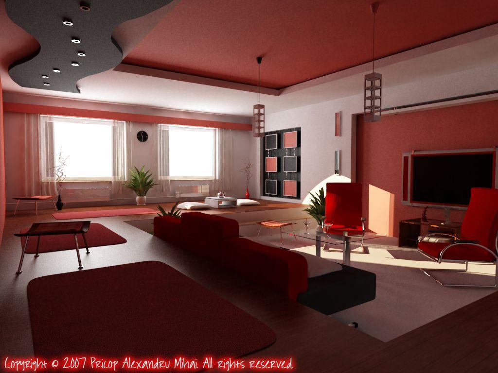 Modern Red White Living Room