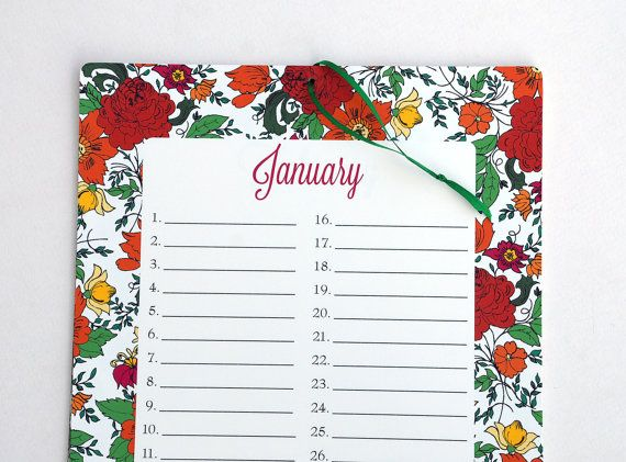 Perpetual Calendar X Floral Print Wall By Oliveandruby