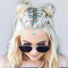 Braided Short Hair Space Buns Love The Middle Parting Temp Design