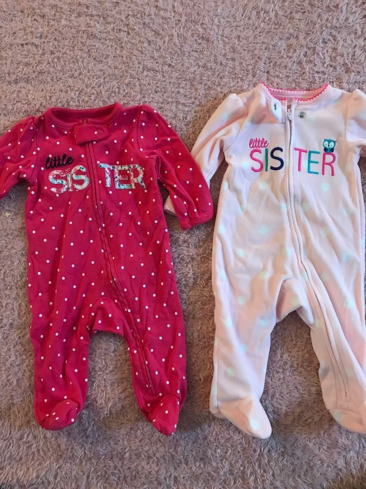 b2840c321 Carters Girls Footed Pajamas Little Sister Lot Size 0-3 Months ...
