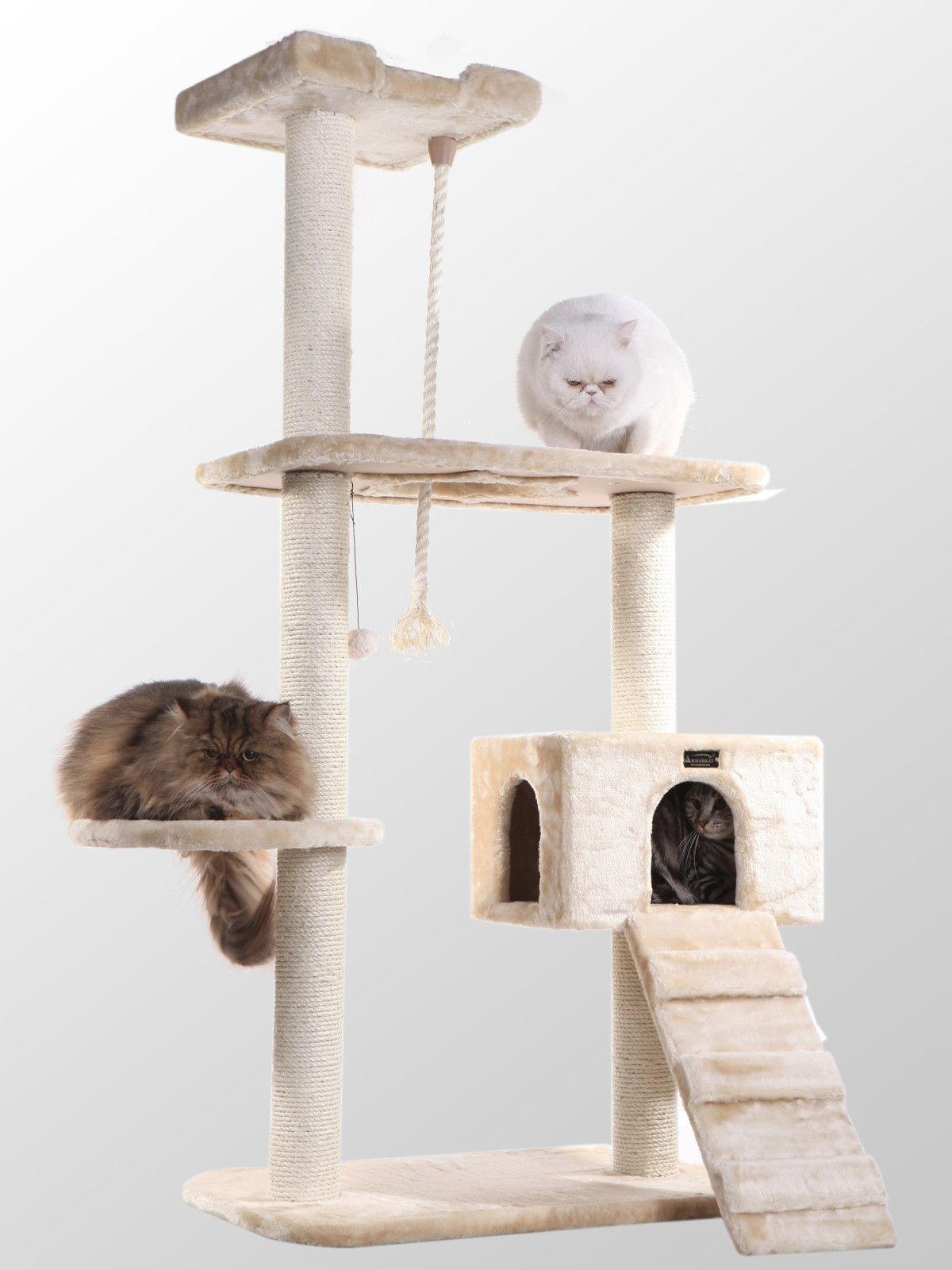 Classic Cat Tree Beige Diy cat scratching post, Cat