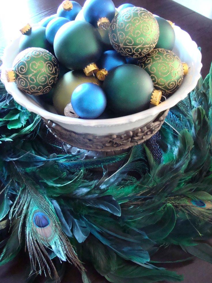 Teal Blue-green peacock feathers, christmas ornaments Aqua - peacock christmas decorations