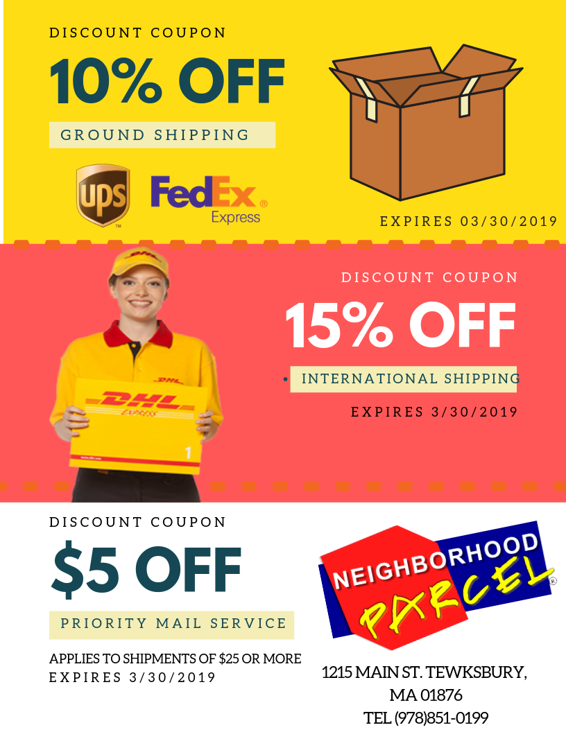 FedEx DHL UPS Post Office Coupons The neighbourhood