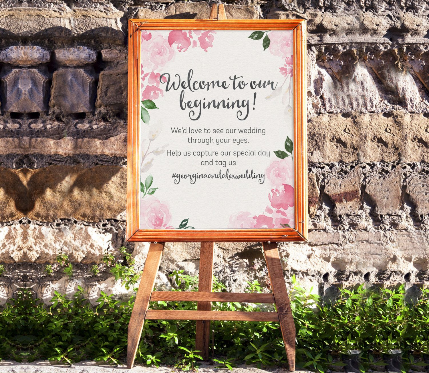 Wallpaper hd diy wedding easel of iphone pics hashtag sign instant printable