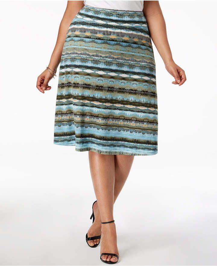 154325c19fda3 Ny Collection Plus   Petite Plus Size Striped Midi Skirt - Black 2X ...