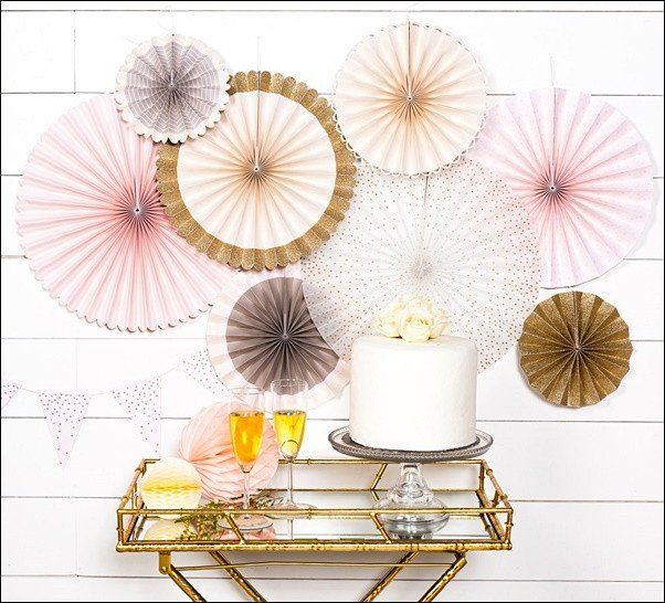 Blush Cream And Gold Glitter Paper Party Fans Set Of 8 Paper