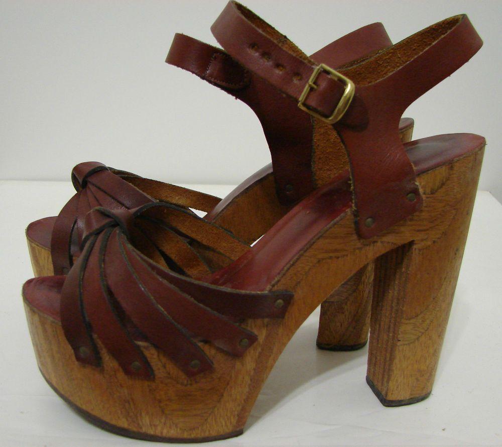 Brown LEATHER 1970s WOODEN Platform Shoes Vintage 70/'s High Heel Sandals size 5
