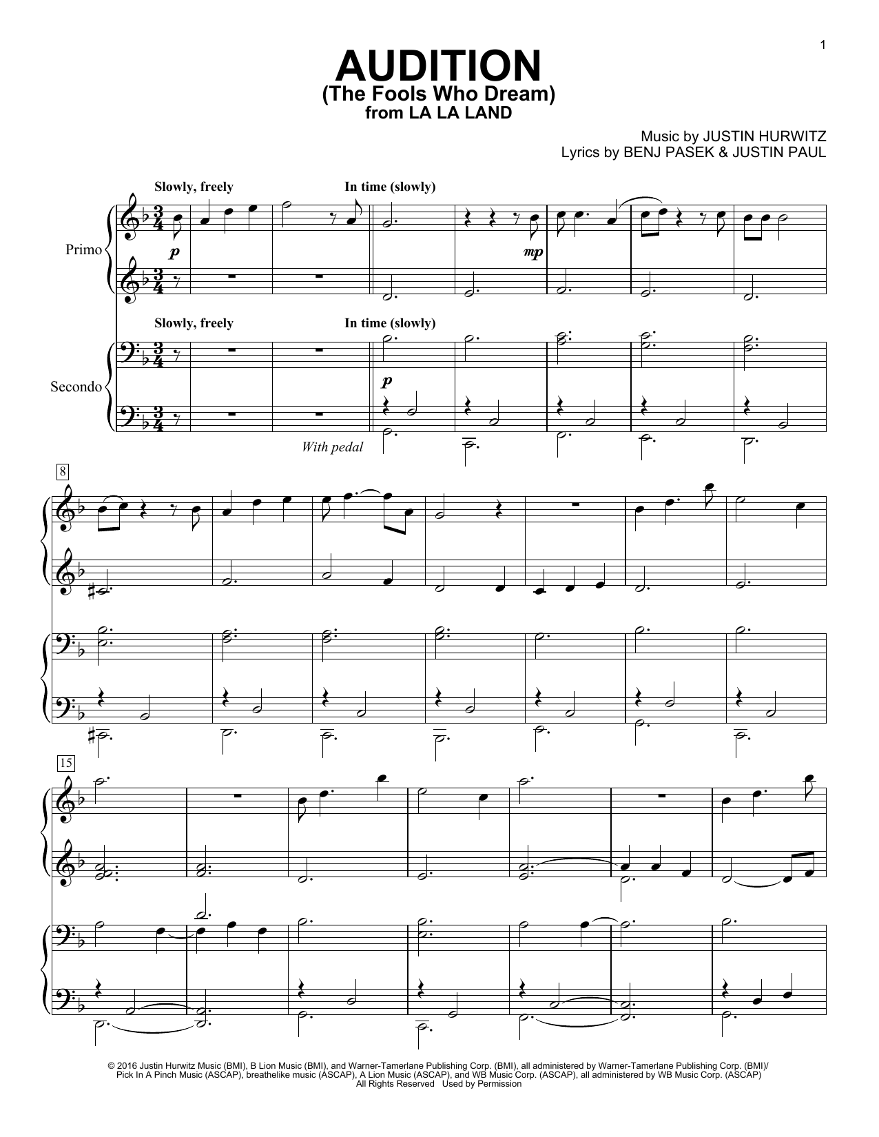 Download Piano Duet Sheet Music To Audition The Fools Who Dream