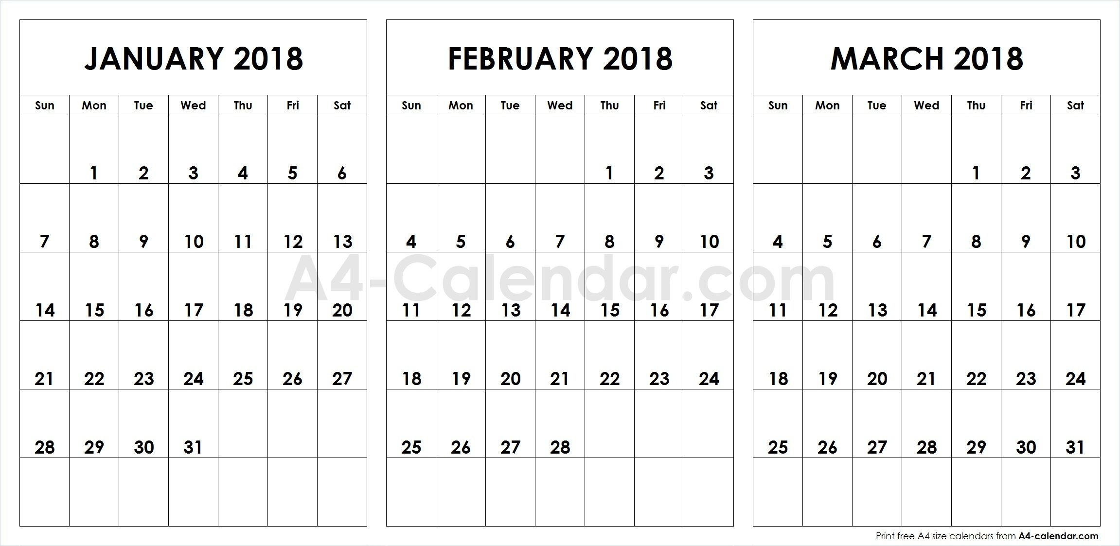 graphic about Printfree Com Calender called Print Totally free Blank January February March 2018 A4 Calendar