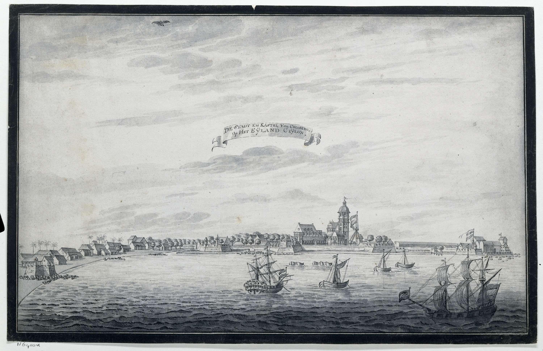 anoniem   Gezicht op Colombo, possibly Johannes Rach, 1765 - 1775   Gezicht op de stad Colombo op Ceylon. Stad aan het water met vesting met twee Nederlandse vlaggen, kerk waarnaast grote mast met Nederlandse vlag en verschillende gebouwen. In de baai verschillende schepen voor anker en rechtsonder een groter Nederlands schip onder zeil.