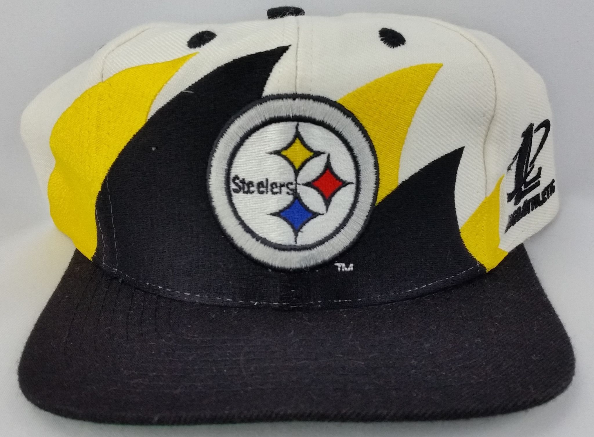 98815d3b8 Pittsburgh Steelers Vintage Snapback Logo Athletic Double Sharktooth Hat  NFL Cap