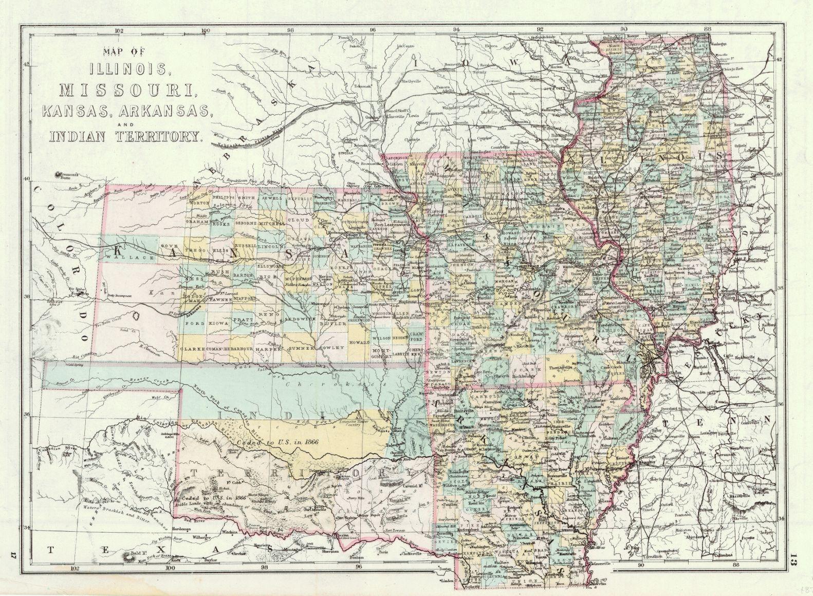 Map Of Illinois Missouri Kansas Arkansas And Indian Territory - Detailed map of kansas