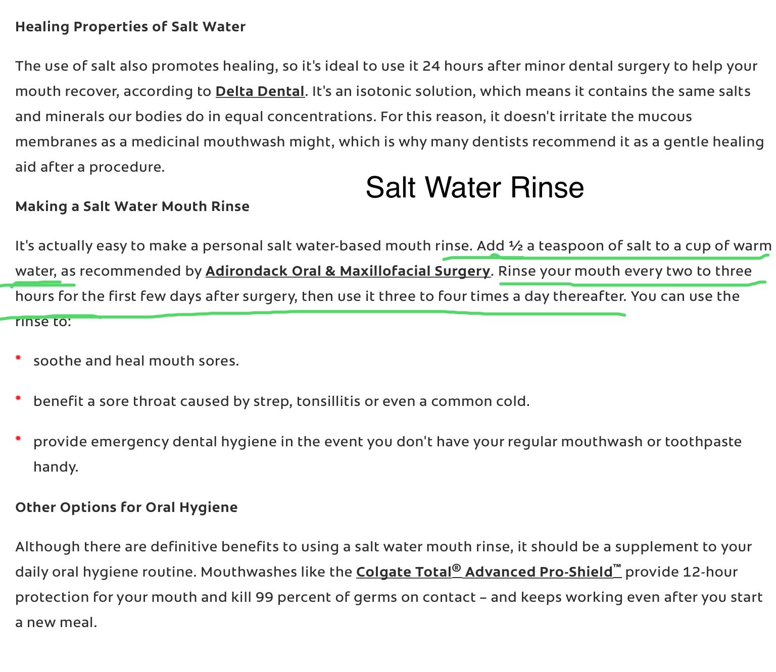Salt Water Rinse For Mouth Sores Or Post Dental Procedures Salt Water Rinse Mouth Mouth Rinse Dental Procedures