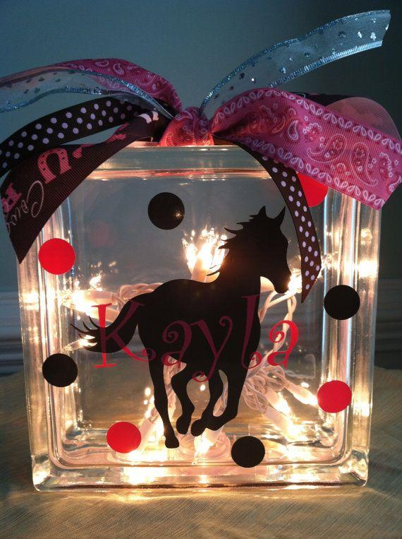 Personalized Horse Glass Block Light by LuLuBeanDesignCo on Etsy