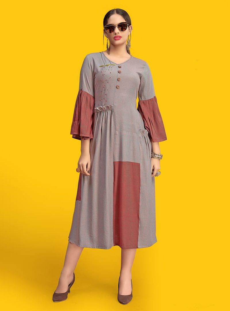 7f815e989a Shop Gray Cotton Readymade Kurti 142469 online at best price from vast  collection of designer kurti at Indianclothstore.com.