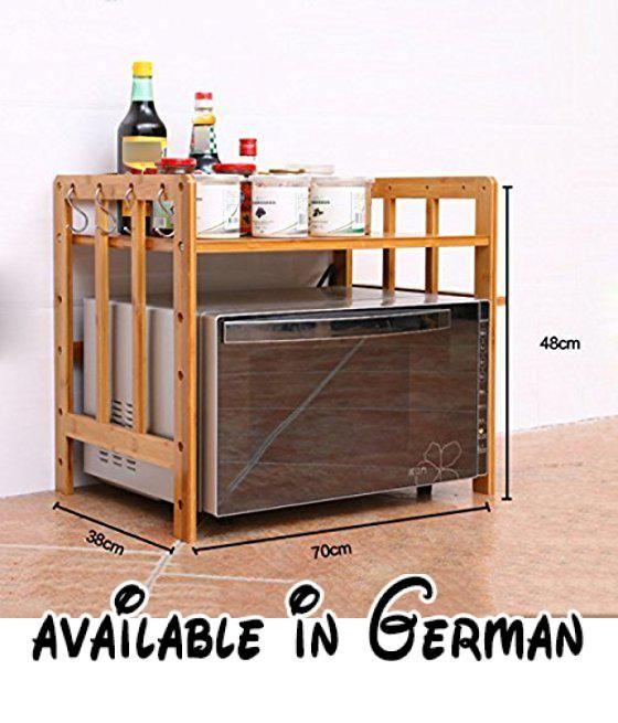 B078XDDJ5D  Mikrowelle Regale Von LDFN Holz Küche Regale - tür für küchenschrank