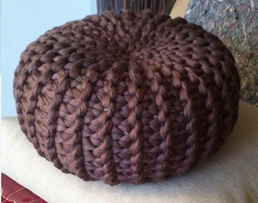 Knitted Pouf Floor Cushion | Knitted pouf, Patterns and Knit patterns
