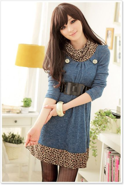 Korean style fashion girl casual dress