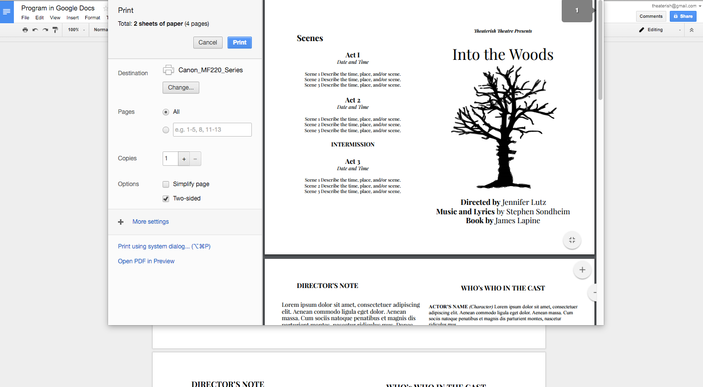 How to Create a Show Program in Google Docs Google docs