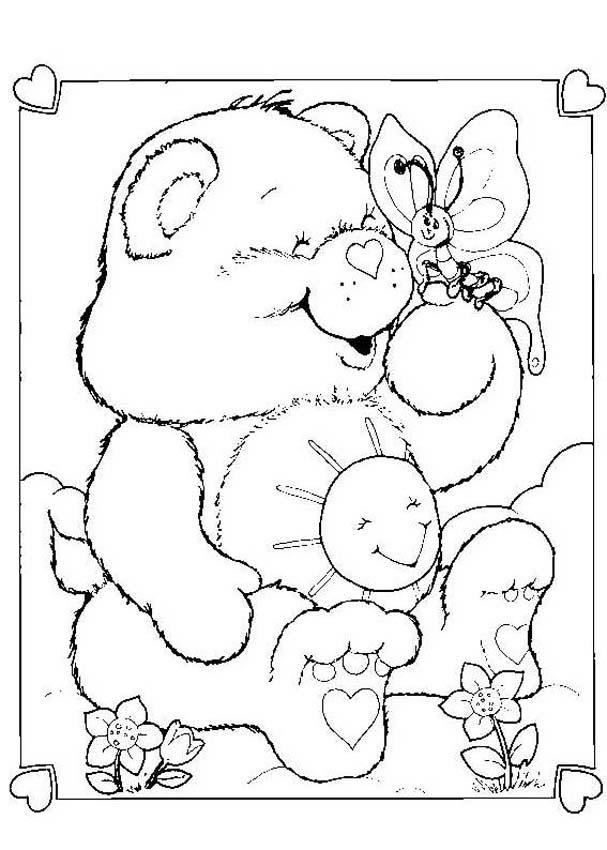 Care Bear With A Butterfly Coloring Page Coloring Pages