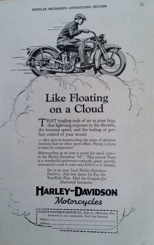 FEB 1929 MAGAZINE PAGE- HARLEY-DAVIDSON MOTORCYCLE, LIKE FLOATING ON A CLOUD