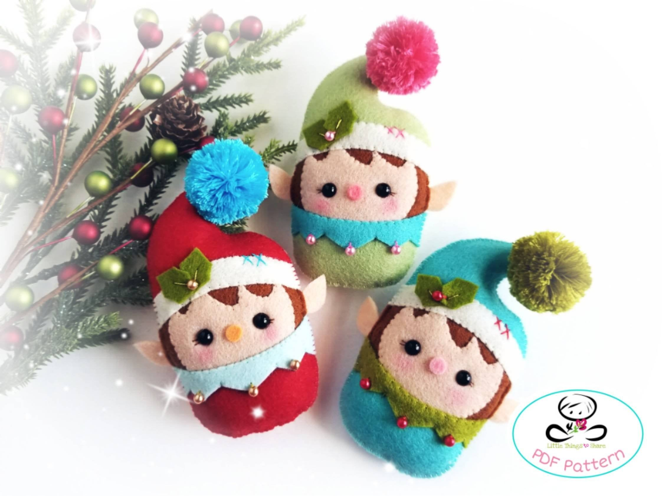 Baby Elf-PDF Pattern-Felt Christmas ornaments-Santa Helpers-DIY -Felt Garland-Gift tags-Cute elves-Christmas elves-cute elf #feltchristmasornaments
