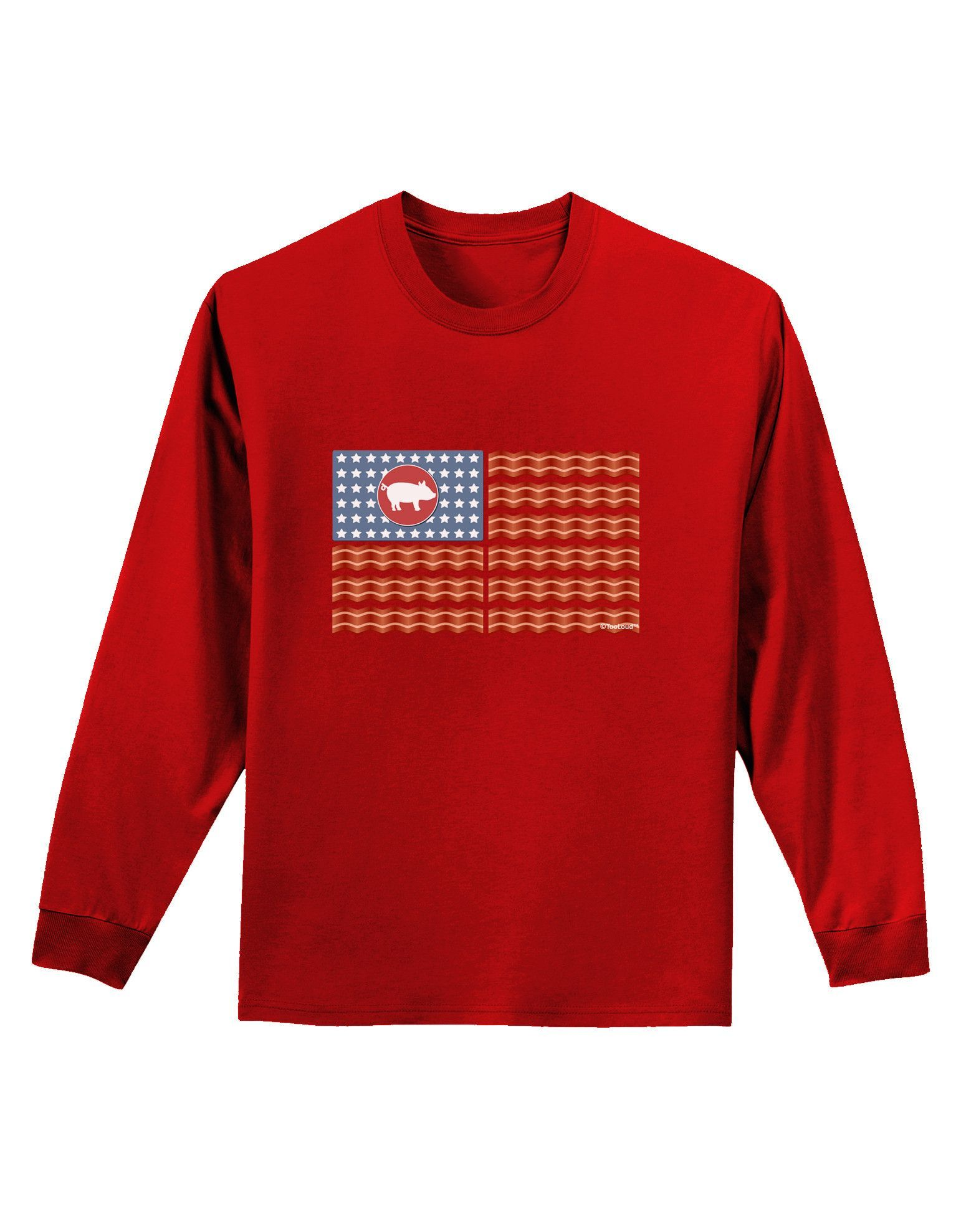 TooLoud American Bacon Flag Adult Long Sleeve Dark T-Shirt
