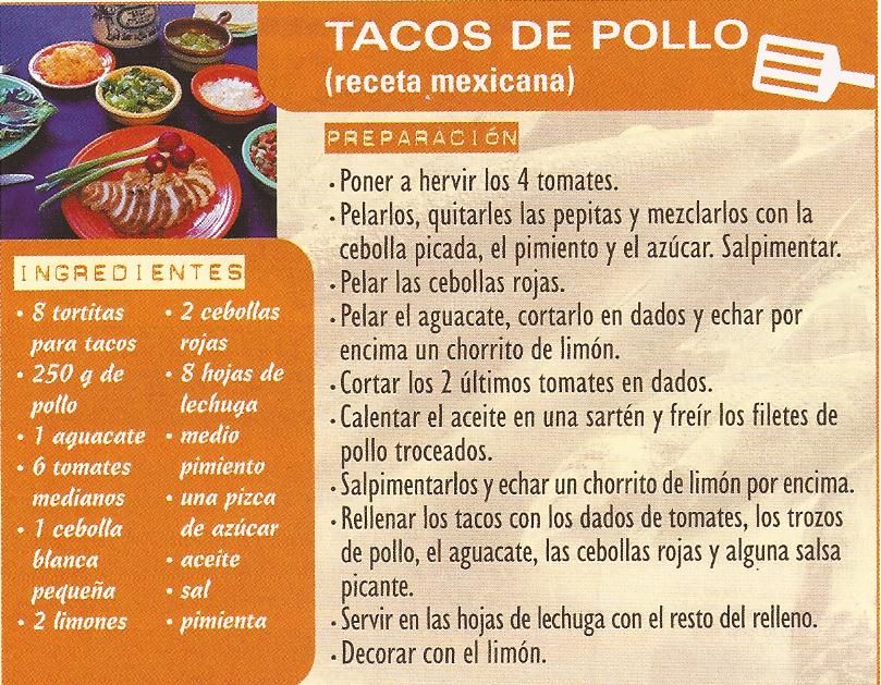 Tacos de pollo recetas pinterest spanish food - Tacos mexicanos de pollo ...