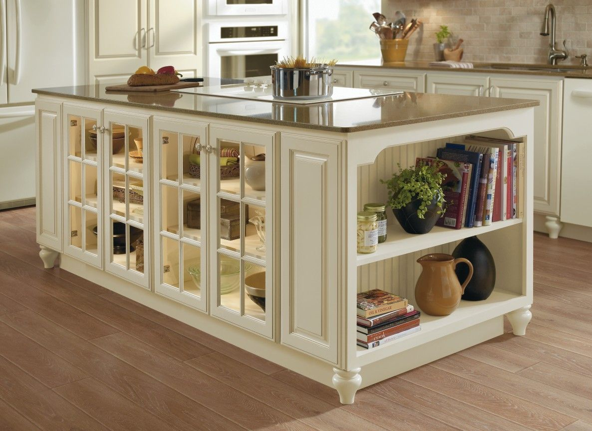 Kitchen Island Cabinet Unit In Ivory With Fawn Glaze And Glass Mullion  Cabinet Doors With Exposed