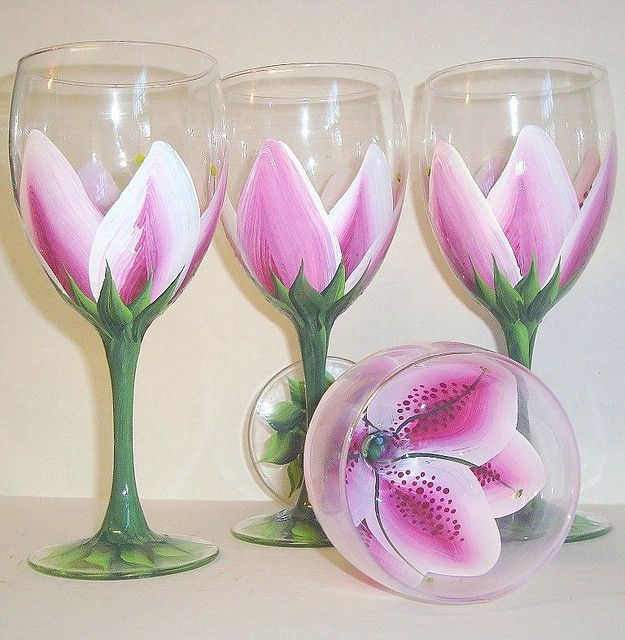 Hand painted lily wine glass