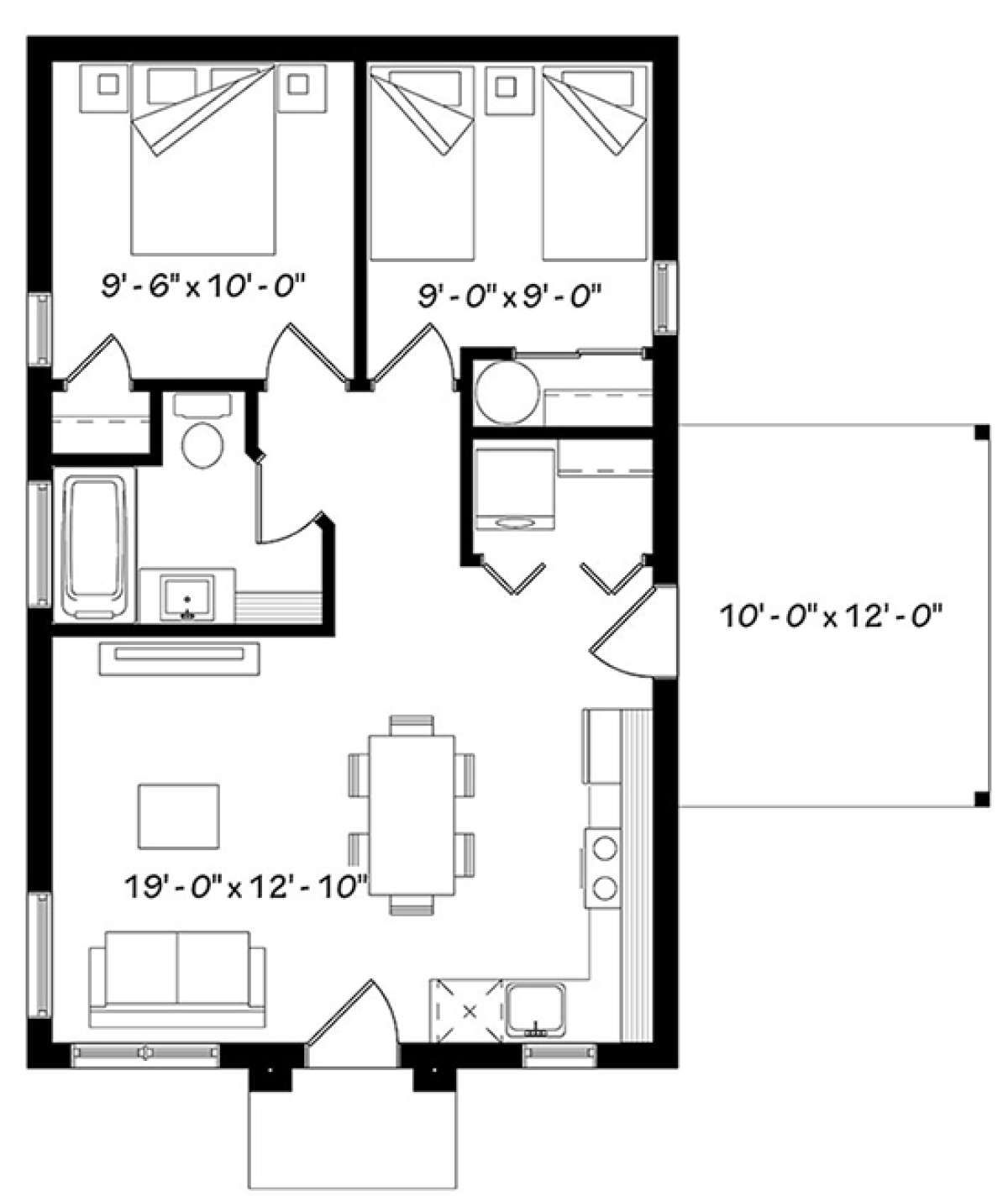 House Plan 034 01076 Contemporary Plan 640 Square Feet 2 Bedrooms 1 Bathroom In 2021 Cabin Floor Plans House Plans Small Apartment Plans