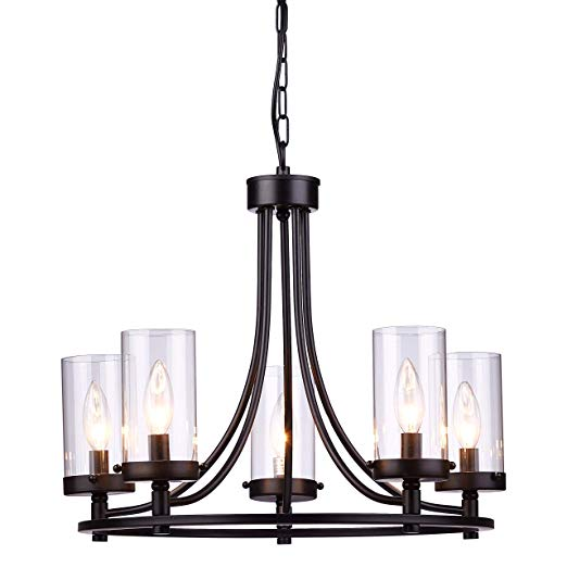 Loclgpm 19 3 Vintage Industrial 5 Lights Black Candle Chandeliers