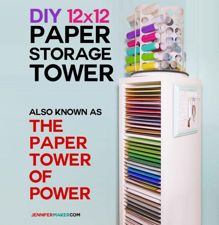 Diy 12x12 Vertical Scrapbook Paper Storage Organizer Tower Ikea Hack Craftroom Storage Paper Scrapbook Paper Storage Craft Paper Storage Paper Storage