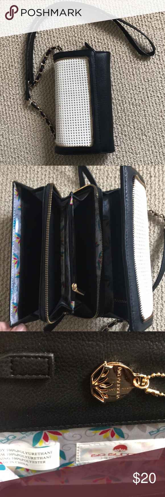 8ba22d935d Big Buddha crossbody organizer Used maybe once. Black and cream waffle  pattern with gold fabric