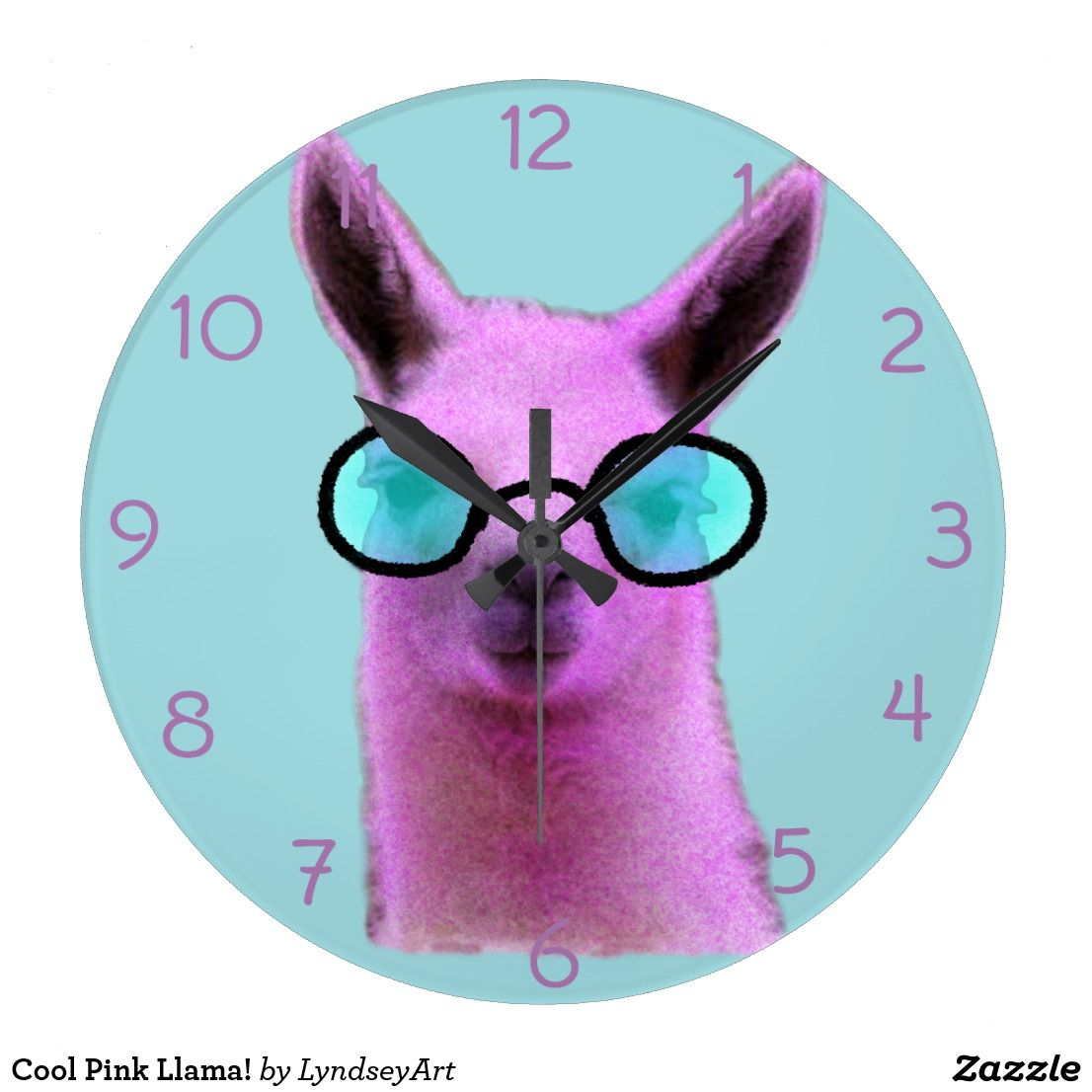 Cool Pink Llama! Large Clock | Large clock
