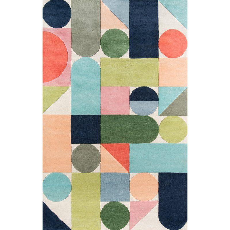 Geometric Handmade Tufted Wool Blue Green Orange Area Rug Multicolored Rugs Wool Area Rugs Area Rug Decor